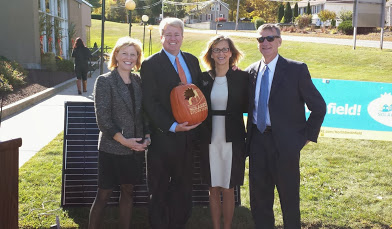 From left: Office of Energy Resources Commissioner Dr. Marion Gold, SmartPower President Brian F. Keane, North Smithfield Town Administrator Paulette Hamilton, and Executive Director of Rhode Island Commerce Corporation Marcel Valois at the Solarize Rhode Island launch on October 10.