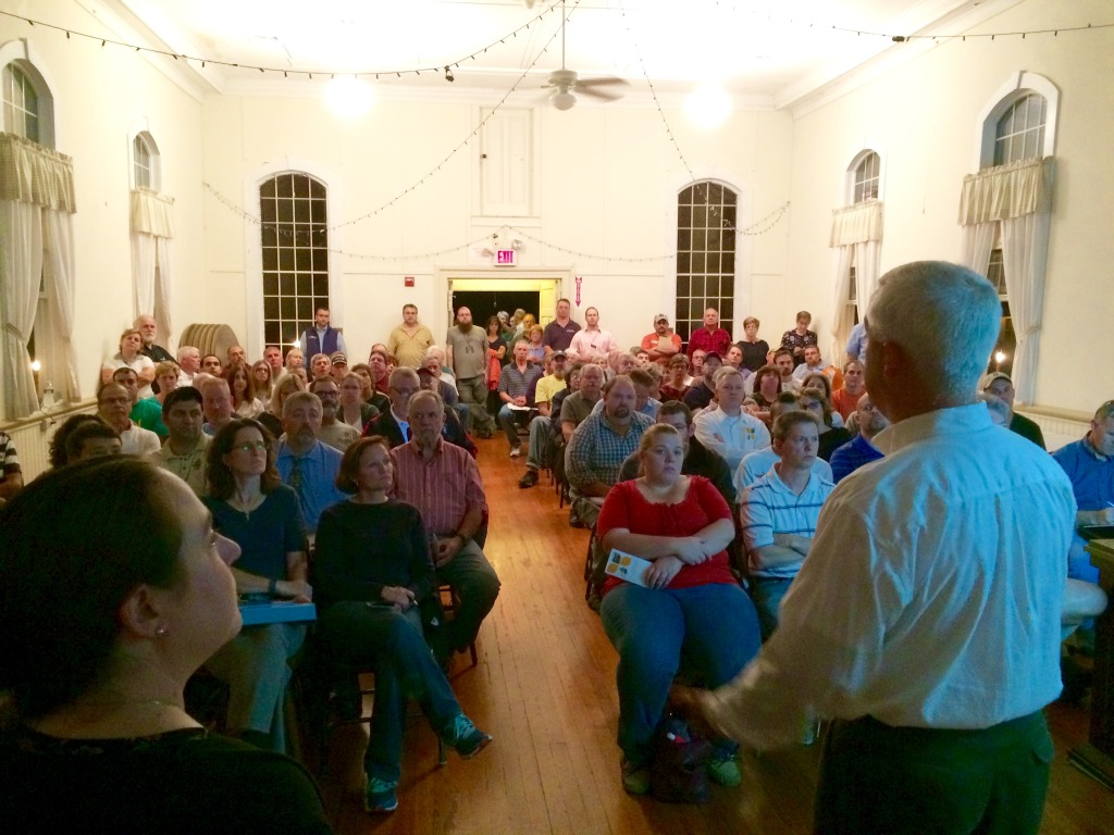 Kevin Clark of RGS Energy speaks to residents of North Smithfield at the October 15th workshop at Heritage Hall.
